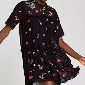 Zara embroidered sequin tunic/dress size M